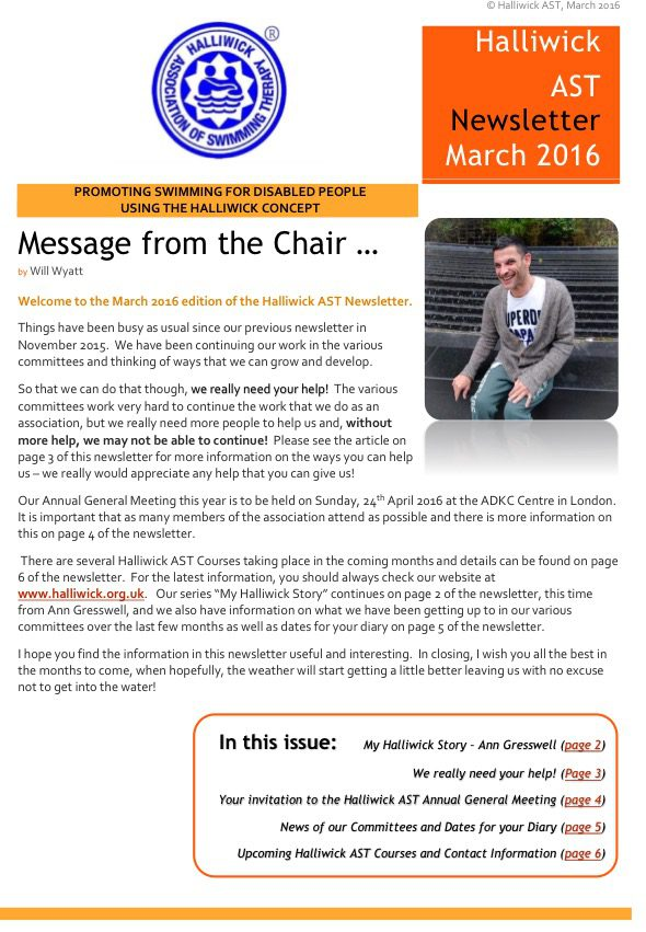 Halliwick AST Newsletter March 2016