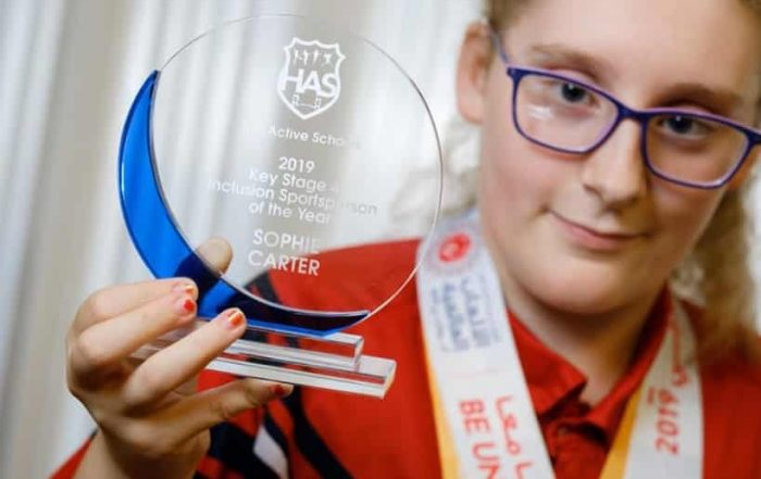 Sophie Carter with Inclusion Sportsperson of the Year 2019 Award